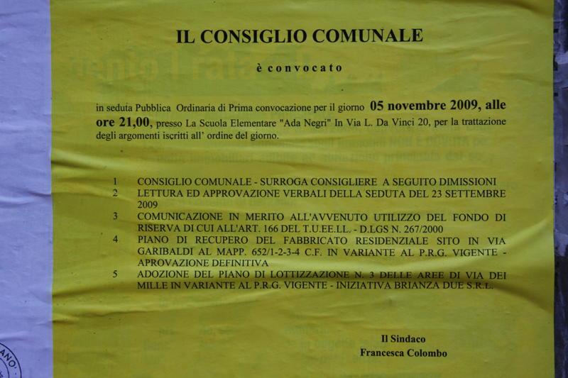 Convocazione del Consiglio comunale del 5 novembre scorso per l'adozione del Piano Longoni ( ultimo punto all'ordine del giorno)